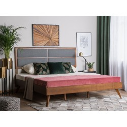 King Size Double Bed design with prices in pure wood with padded back in lahore pakistan