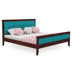 Pure solid wood bed with cushioned head and foot in lahore pakistan