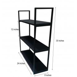 Book Rack 3 Shelves Black...