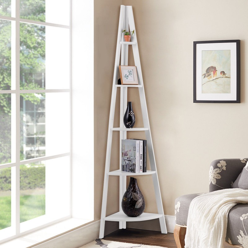 5 Tier Corner Wooden Shelf Stand Storage Display Rack white color for sale online in lahore pakistan