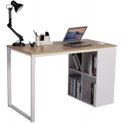 computer table with storage bookshelves white color metal frame mdf top design with price  lahore pakistan