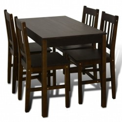 VidaXL Wooden Dining Table with 4 Chairs Brown buy online Lahore-Pakistan